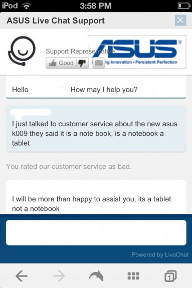 The Asus K009 is a tablet, not a notebook says one Asus rep.