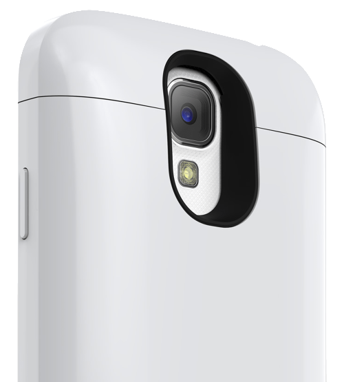 The Galaxy S4 Mophie case in white.