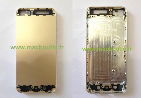 Alleged Gold iPhone 5S back plate, showing a new iPhone 5S color.