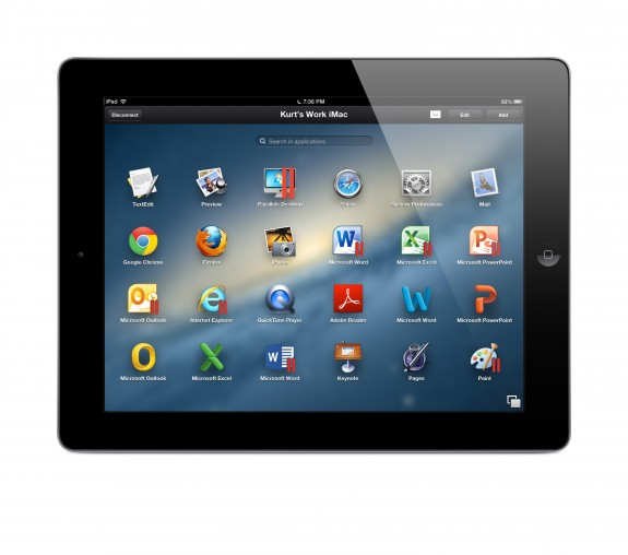 Parallels Access Launch Pad on an iPad accessing a Mac