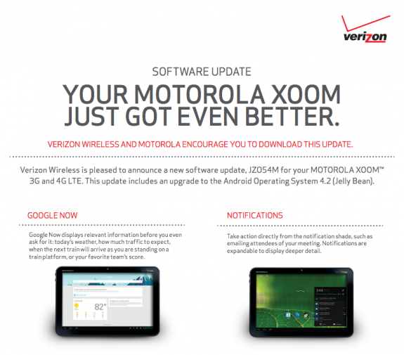 The Verizon Xoom will be getting Android 4.2.