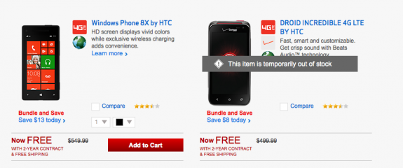 The Droid Incredible 4G LTE is now out of stock at Verizon.