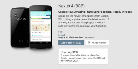 The Nexus 4 8GB is now $199 unlocked.