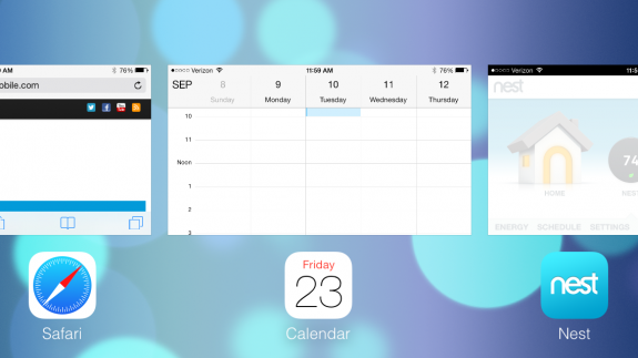 Multitasking works in landscape on iOS 7.