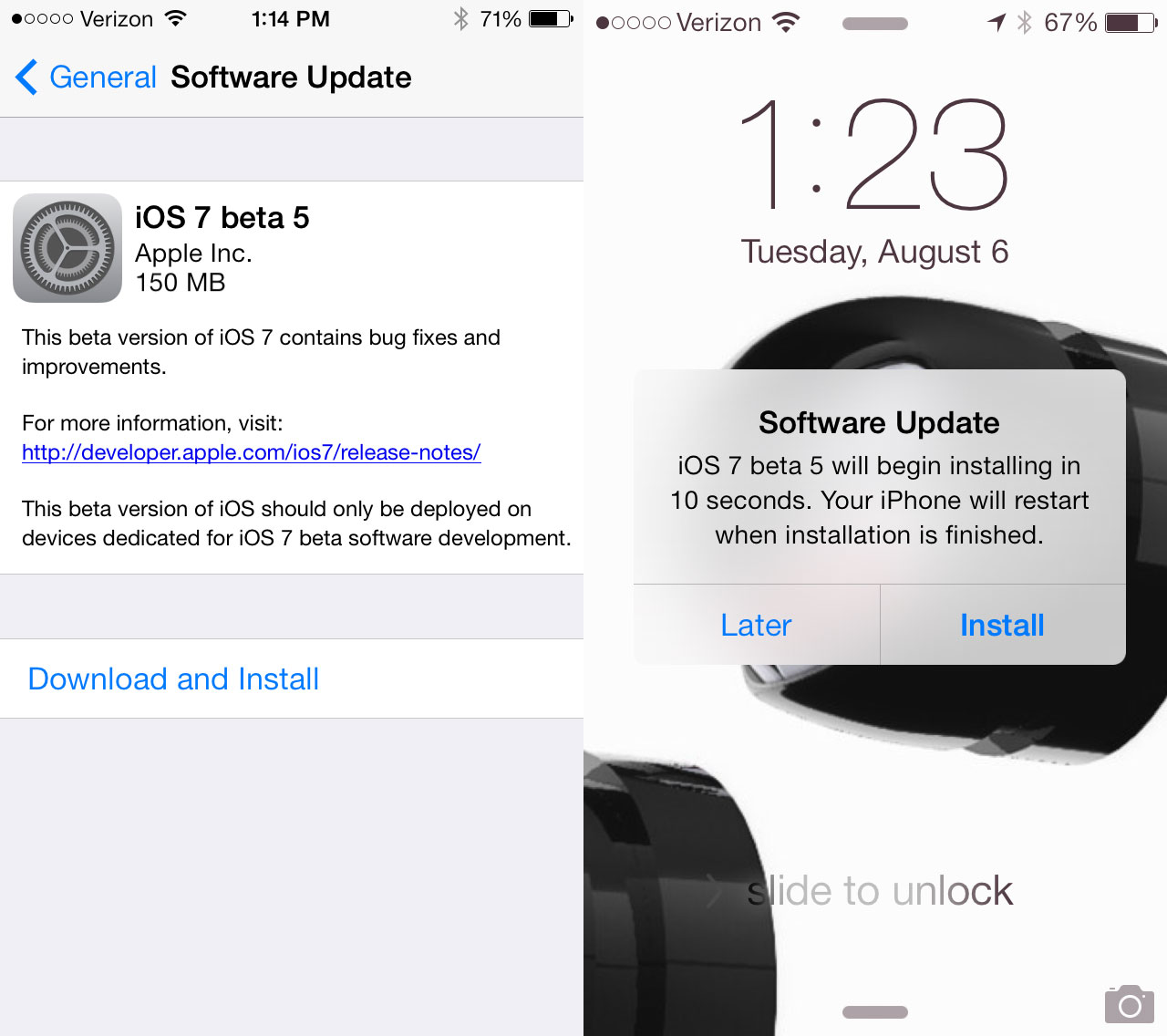 The iOS 7 beta 5 release surprises, arriving on a Tuesday with new enhancements.