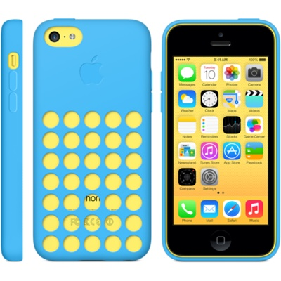 apple iphone 5c cases in blue on yellow phone