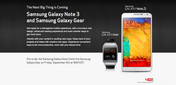 Verizon Galaxy Note 3 pre-orders start tomorrow.