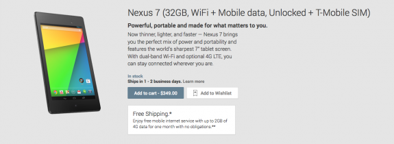 The Nexus 7 LTE is now on sale in the Google Play Store.