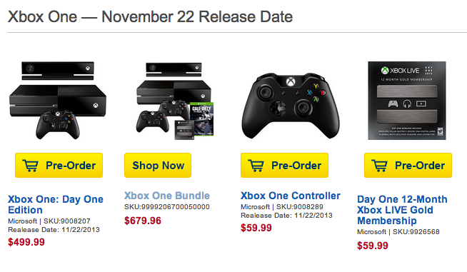Best Buy is still taking Xbox One release date pre-orders.