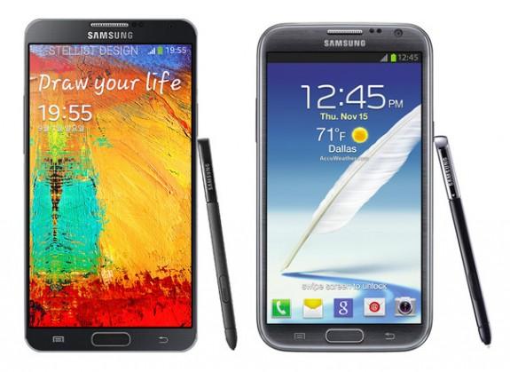 The Galaxy Note 3 vs. Galaxy Note 2.
