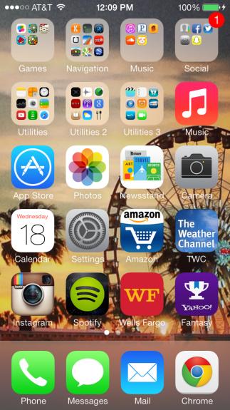 Same iPhone home screen in iOS 7.