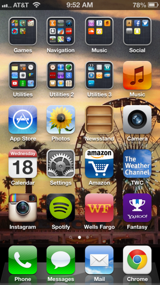 The iPhone home screen in iOS 6.