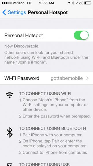 Change personal hotspot settings on iOS.