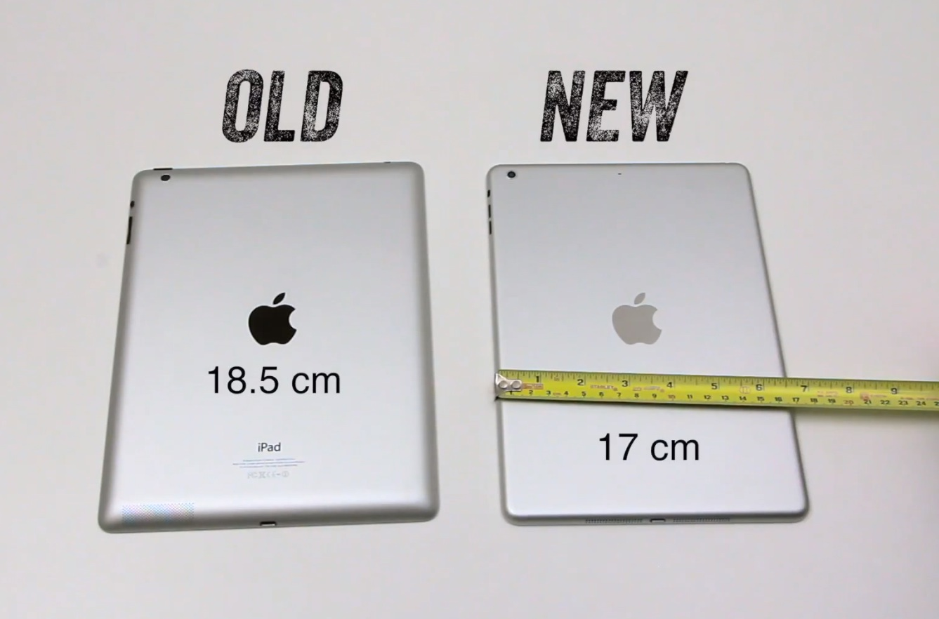 Comparing the size of the iPad 5 vs. iPad 4 using leaked iPad 5 shell parts.