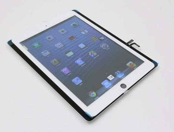 The iPad 5 front panel is narrower than the iPad 4 according to leaked parts.