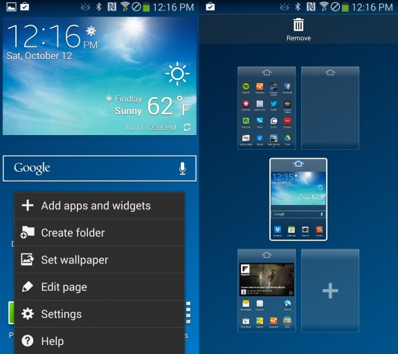 Customize the Galaxy Note 3 home screen with more pages.