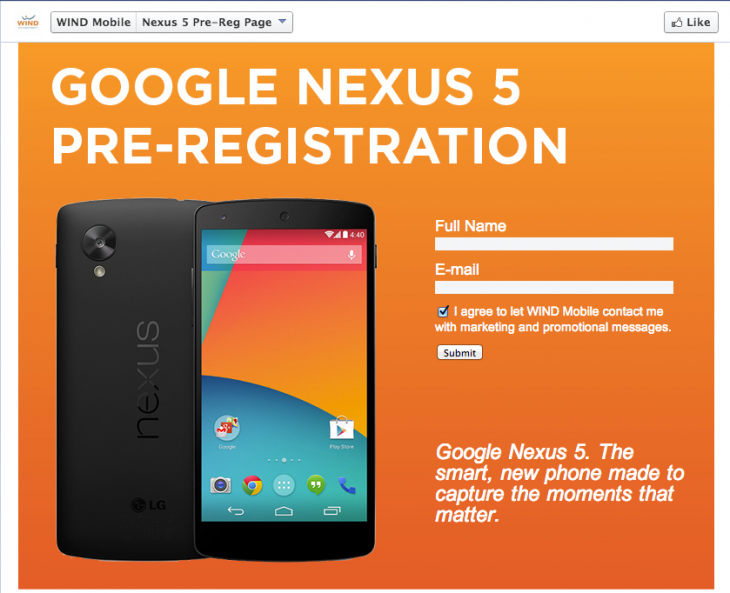 Notice the Nexus 5 pre-registration uses the same #momentsthatmatter phrase.