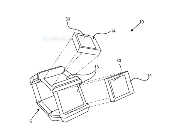 Illustrations from a patent on a smartwatch design with interchangeable screens filed by Nokia.