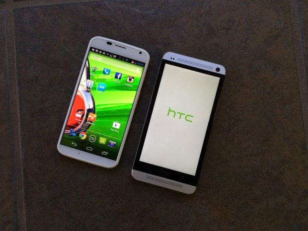 htc one and moto x front