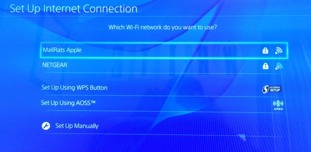 Choose your WiFi network and enter a passcode to setup the PS4.
