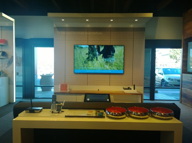 AT&T converts a portion of its store into a living room to show off Uverse and the Digital Life experience. Home, TV, Internet, and security systems are on display to show you how they would work in your home. It's both a visual and an experiential experience.