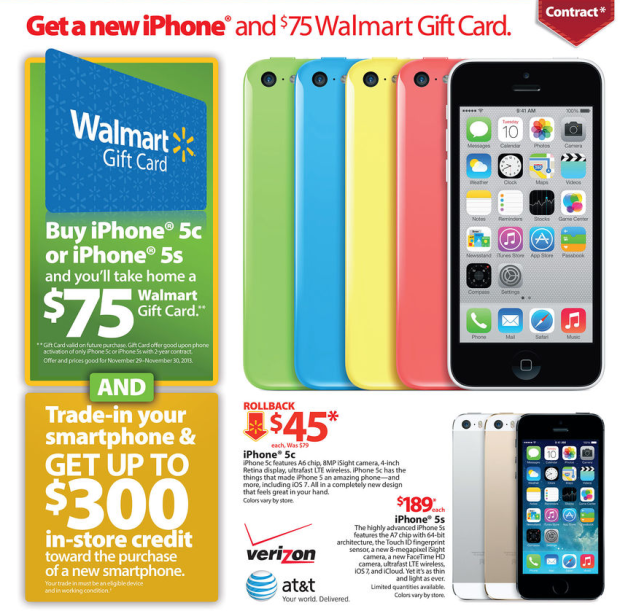 The Walmart Black Friday 2013 ad includes incredible iPhone deals.