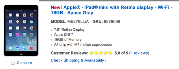 Some Best Buy locations have the iPad mini 2 with Retina display in stock.