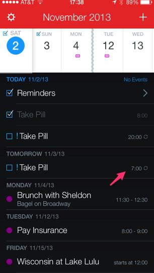 Fantastical App Shows Correct DST Adjustment