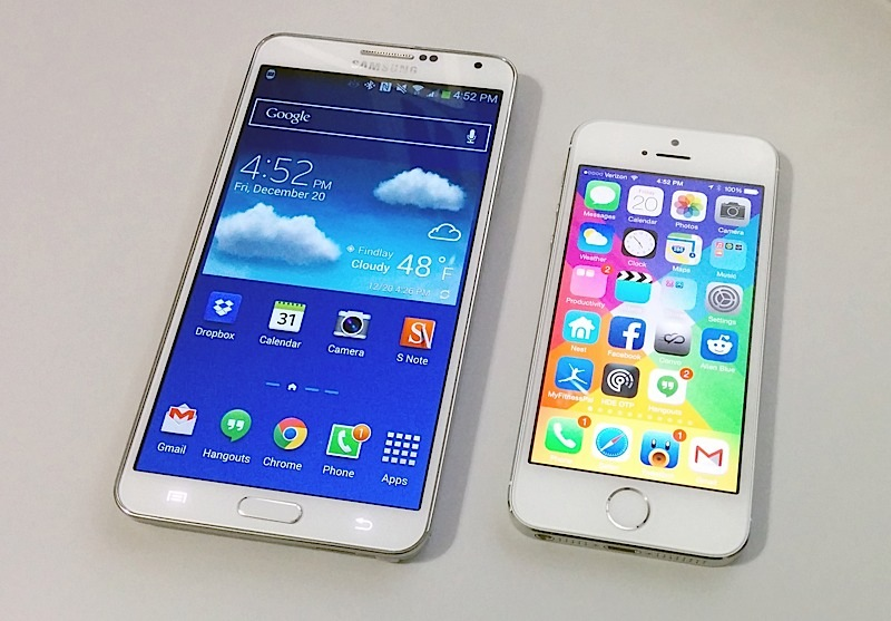 The Samsung Galaxy Note 3 is better than the iPhone 5s in five key areas.