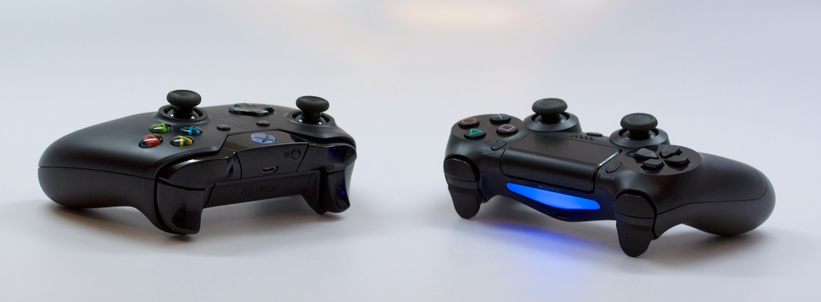 The PS4 and Xbox One controllers add new features.