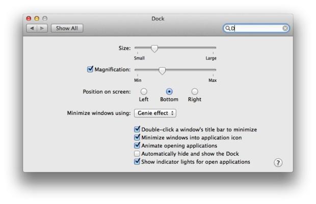 dock preferences