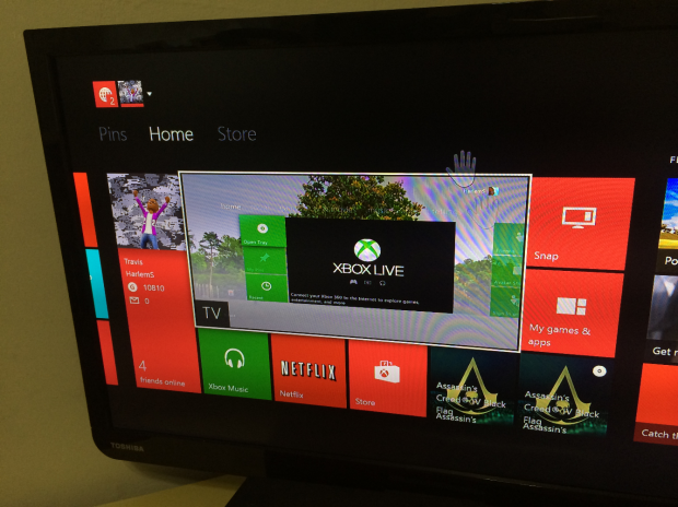 Here we're using the HDMI Pass-through port to look at the Xbox 360 dashboard.