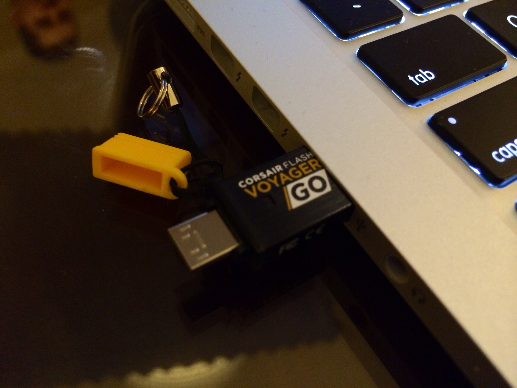 The Corsair Flash Voyager GO USB OTG Flash Drive plugs into your Android smartphone.