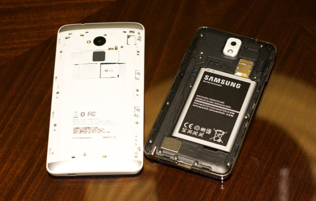 The HTC One Max offers a removable back, but no removable battery.