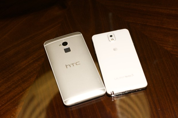 The HTC One Max is noticeably larger.