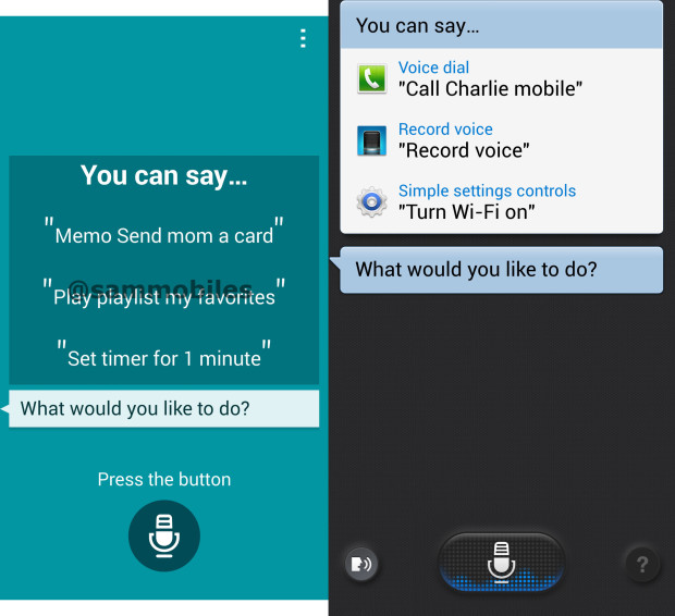 In the latest Galaxy S5 apps leak, we see a new S Voice on the left, compared to the older S Voice on the right.