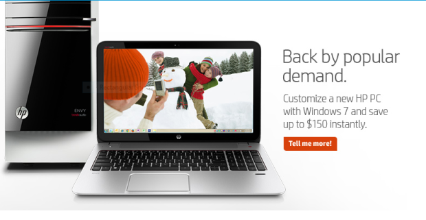 HP Windows 7 Back Sale