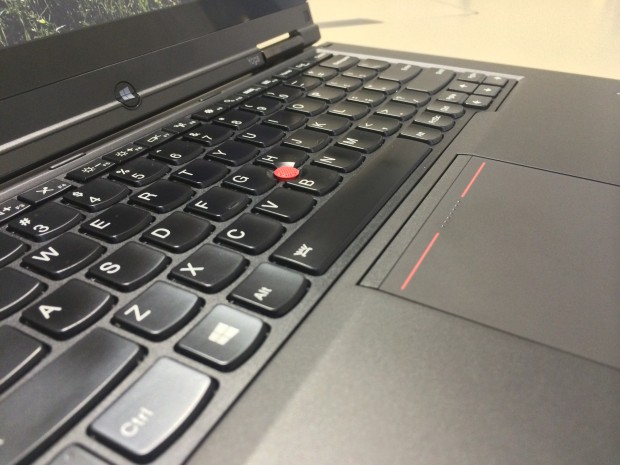 The ThinkPad Yoga's wonderful keyboard accompanied by its touchpoint button and trackpad.