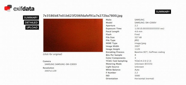 The data attached to this sample shows a little more information about the Galaxy S5 camera.