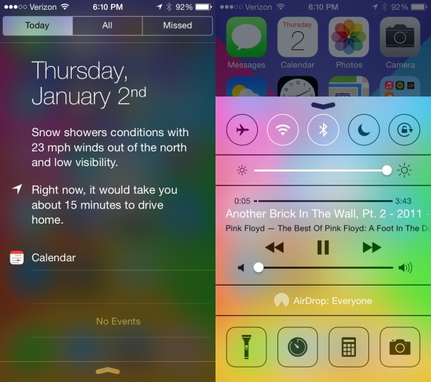 The new look of iOS 7 and fast access to information and controls is a big benefit for iPhone 5s users.