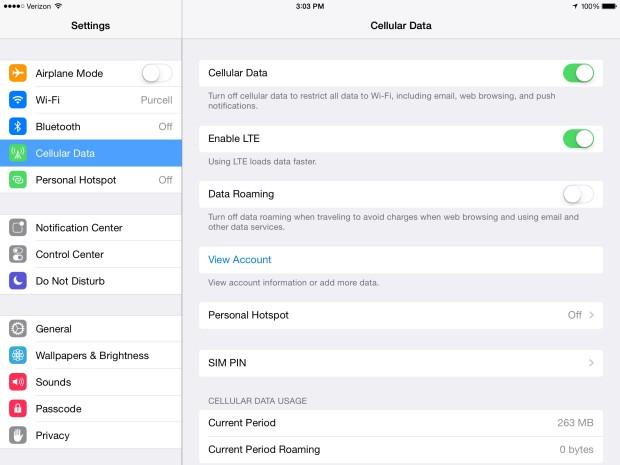 ipad settings cellular data
