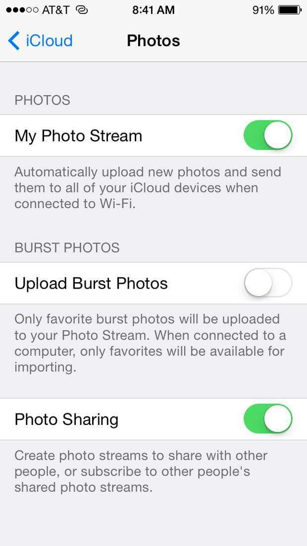 icloud photo settings