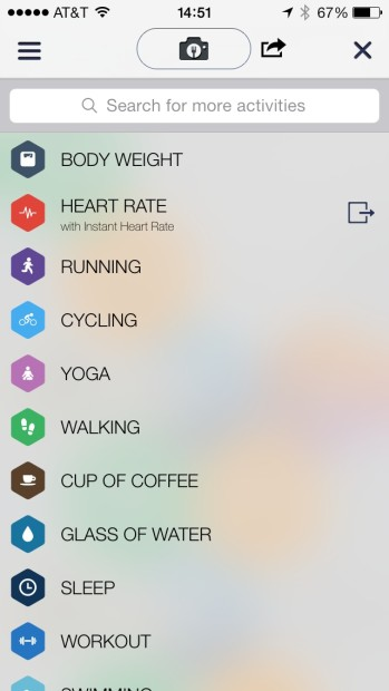 Some of the many activities you can track in the Argus App