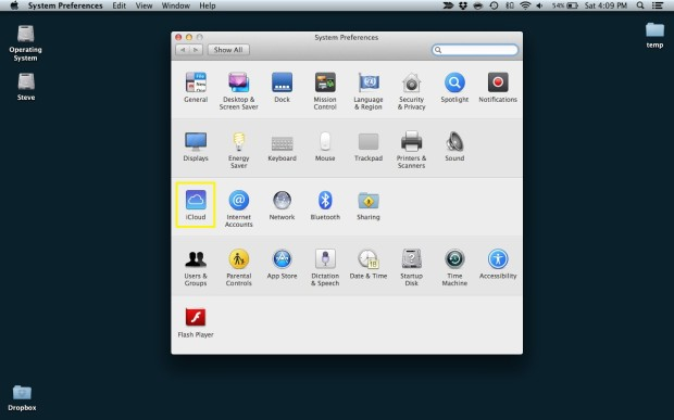 Select iCloud (Mac)