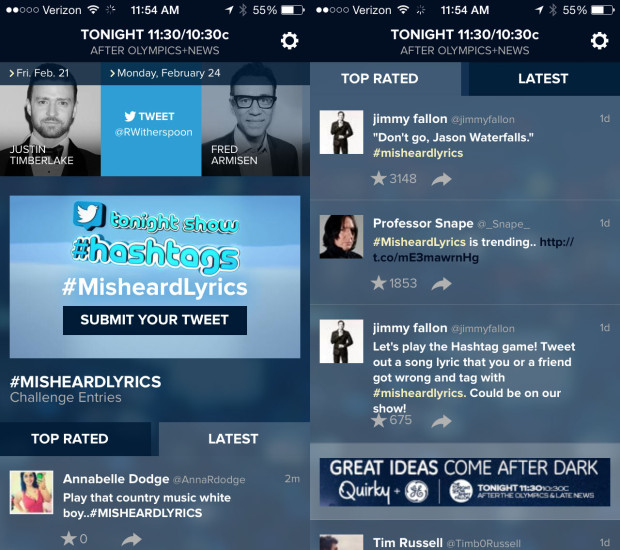 The Tonight Show App offers quick access to videos and Jimmy Fallon's twitter interactions.