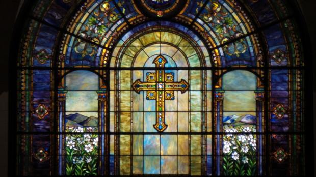21x zoom at night into church window.