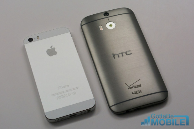 Two metal smartphones compete in 2014.
