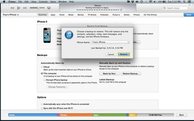 Restore the iPhone
