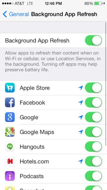 Turn off Background App Refresh.