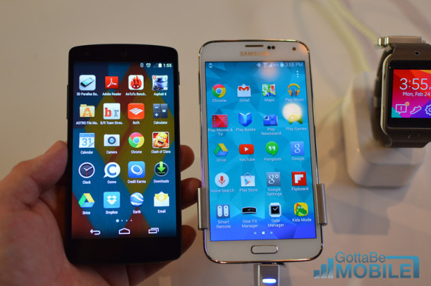 The Nexus 5 and Galaxy S5.